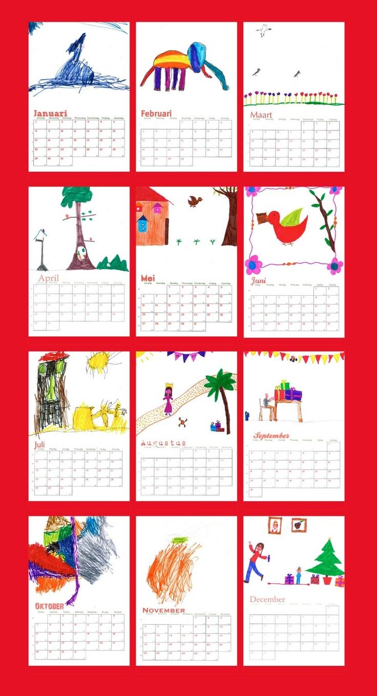 kalender afprinten en kids laten tekenen