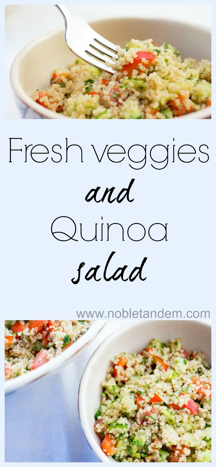 This fresh veggies and quinoa salad is a quick, easy, delicious and good for you. http://www.nobletandem.com/recipe/fresh-veggies-quinoa-salad-version-anglaise/