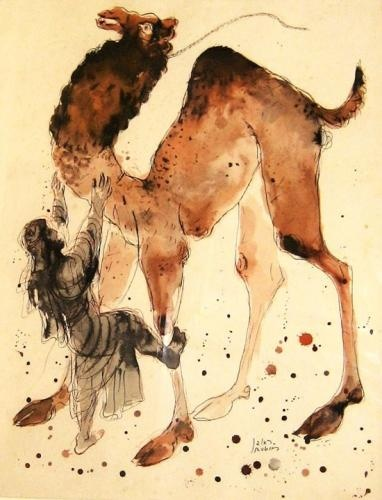 REUVEN RUBIN 1893 - 1974 The Camel Trainer Lithograph Signed.