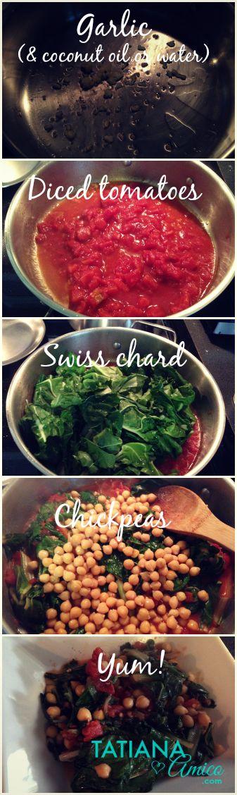 An easy swiss chard recipe with tomatoes and chickpeas. #vegan #glutenfree www.tatianaamico.com