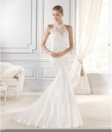 Robe de mariée sirène élégant 2015 en dentelle col rond