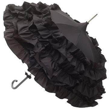 Lisbeth Dahl is a very well known Danish designer of many wonderful products including umbrellas. Including a series of three flounces and an all-over theme of black