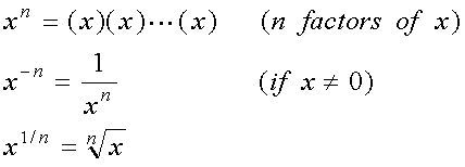 x^n = (x)(x)...(x), n factors of x; x^-n = 1/(x)(x)...(x); x^(1/n) = nth root of x