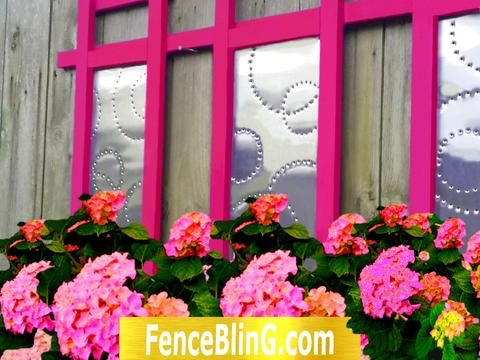 Outdoor Wall Art Geometric Fence Bling in Pink is a great addition to any Garden.  My Colorful Outdoor Wall Decor is great for privacy and as art installations.