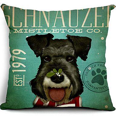 schnauzer hund bomull / linne dekorativa örngott – SEK Kr. 118