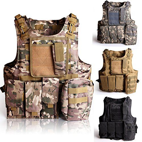 """SOLOMONE CAVALLI Tactical Molle Combat Vest Airsoft camouflage Police Fully adjustable  Model: Tactical Vest; Size: One Size; Material: Nylon.  7 rows of 1"""" straps on front side of the vest; 8 rows of 1"""" straps on back side of the vest.  1"""" molle webbing cross straps for attaching molle pouches; 1 triple magazine pouch.  1 map and flashlight pouch; 1 medic pouch  Color: As seen in the photo"""