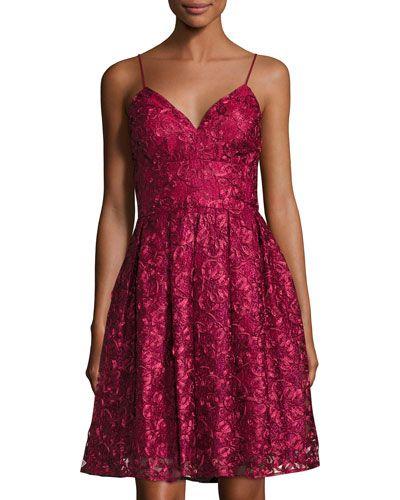 NICOLE MILLER SOUTACHE SPAGHETTI STRAP FIT-AND-FLARE DRESS, RED. #nicolemiller #cloth #
