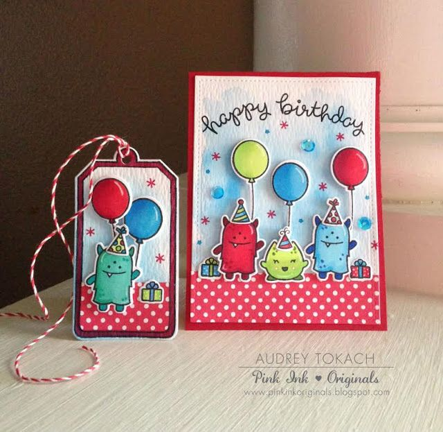 A Monster Birthday Card and Tag set by Audrey | the Lawn Fawn blog | Bloglovin