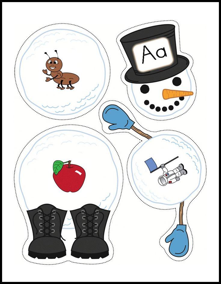 Build A Snowman Alphabet activity.  25 adorable snowmen.  Fun winter-themed center activity.