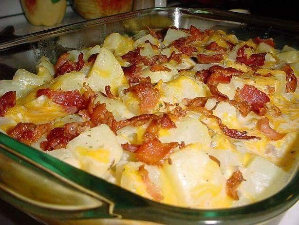 Ranch Potatoes   Ingredients 8 -10 medium potatoes, peeled and cut into 1/2 inch cubes 1 can cream of mushroom soup, undiluted 1 1/4 cups milk 1 envelope ranch dressing mix 1 1/2 cups shredded cheddar cheese, divided salt and pepper 6 slices bacon, cooked and crumbled Directions Add the potatoes to a saucepan. Add water to cover. Bring to a boil; cook about 10-12 minutes or until potatoes are almost tender; drain. Place drained potatoes into a greased 13x9 inch baking dish. In a bowl, mix…
