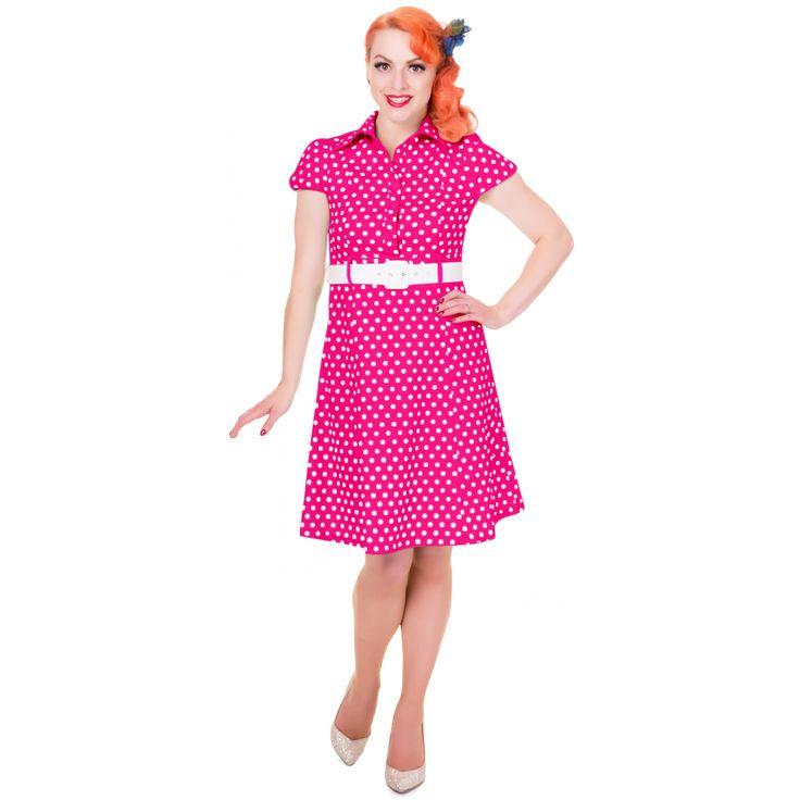 Zelda Vintage Shirt Day Dress in Hot Pink