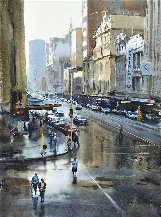 Greg Allen. Rain on Flinders Street 1988 Леонард Джоэл, Мельбурн. Дождь на улице Флиндерс, 1988
