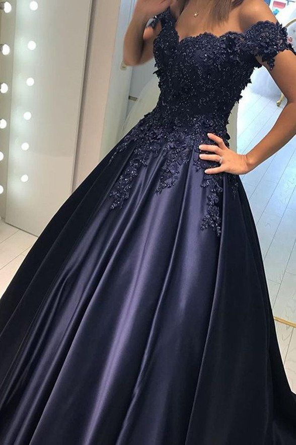 Dark Blue Lace Satin Off Shoulder Long Prom Dresses Evening Ball Gowns LD232