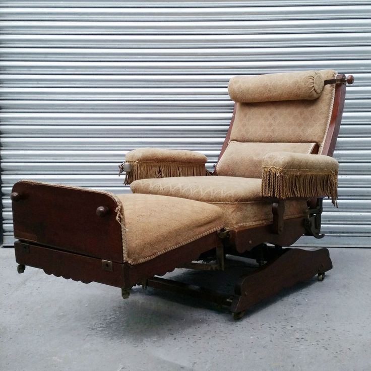Antique J.Foot & Son 'Marlborough' mechanical Victorian reclining chair