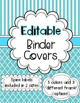 These editable binder covers come in 5 different colors (blue, green, pink, orange, purple) with 3 different frame choices.  Also included are matching spine labels in 2 different sizes (1 in and 3 in).  Also includes back page inserts in all 5 colors (covers without the frames) Personal use only.