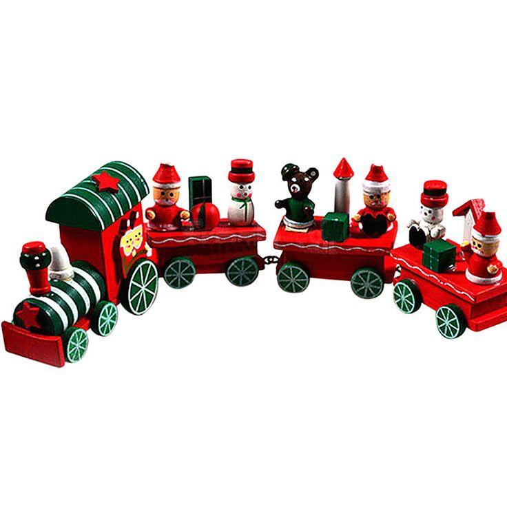 Lovely Charming 4 Piece little train Wood Christmas Train Ornament Decor Gift For Home DIY Christmas Decoration Free Shipping