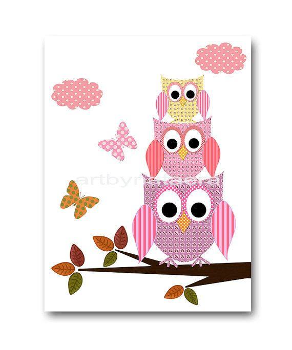 Owl Decor Baby Girl Nursery art print Childrens by artbynataera, $14.00