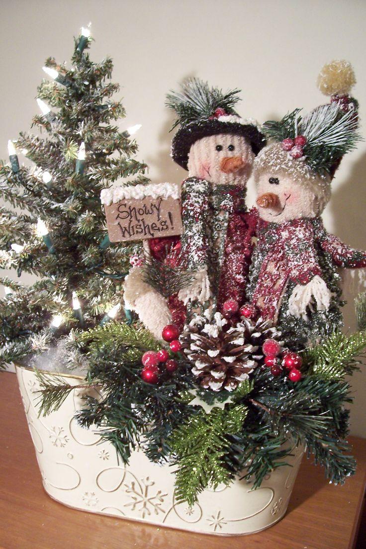 "Snowman Basket, ""Snowy Wishes""."