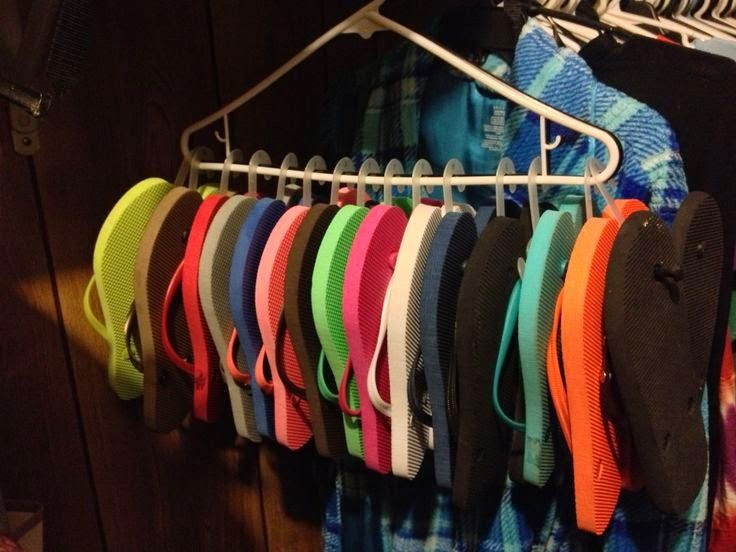 Organize flip flops with hanger and clips :: OrganizingMadeFun.com