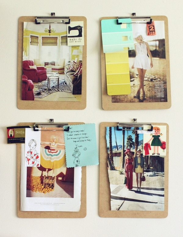 I love this idea of using clipboards to put together one themed mood board. This would be really cute on a blank office wall space!