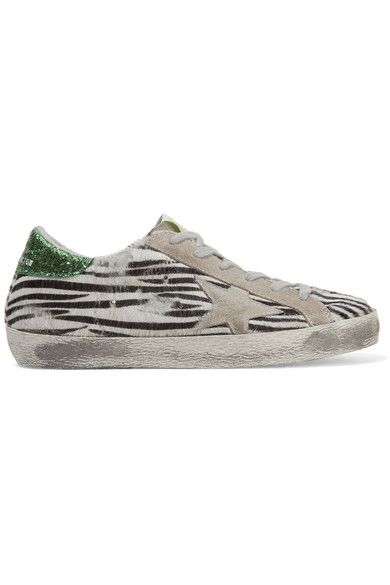 Golden Goose Deluxe Brand - Super Star Suede-trimmed Zebra-print Calf Hair Sneakers - Zebra print - IT
