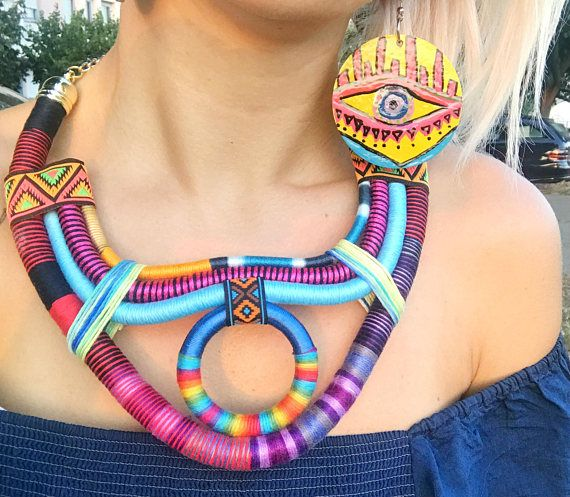 Tribal Necklace Multicolored African Jewelry African