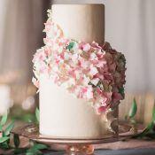 Blooming Petal Wedding Cake with Sugar Flowers