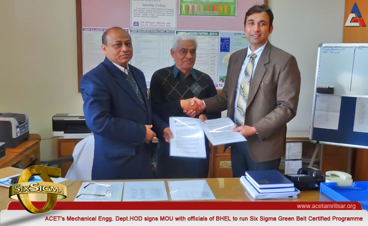 """Mr. Gaurav Tejpal (Head, DME) signs MOU with officials of BHEL to run """"Six Sigma Green Belt Certified Programme"""" for B.Tech Mechanical Engineering Students, in Collaboration with QCFI, Haridwar""""."""