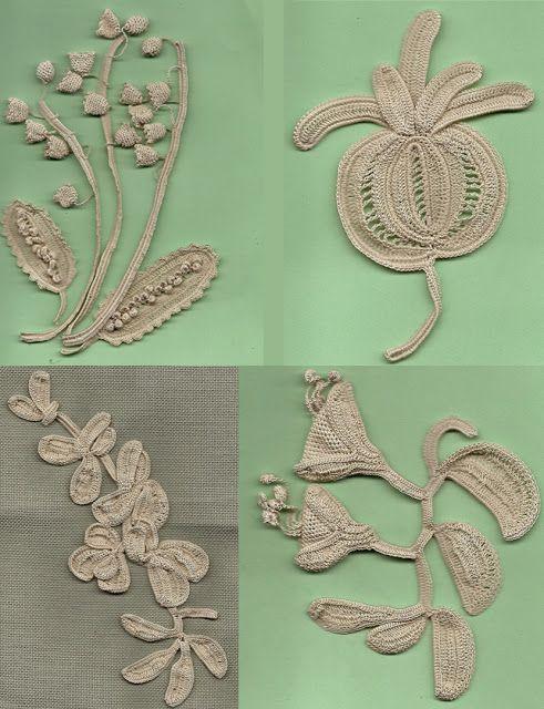 Antique Irish Crochet Lace motifs before joining.