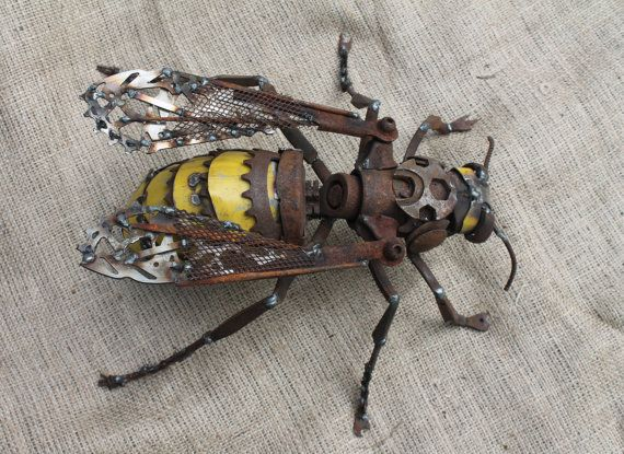 Metal Hornet Sculpture Scrap Metal Unique by GreenHandSculpture