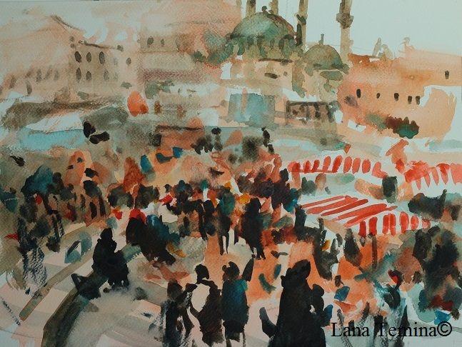 Istanbul. Watercolor by Lana Temina  #watercolor #painting #art #istanbul #
