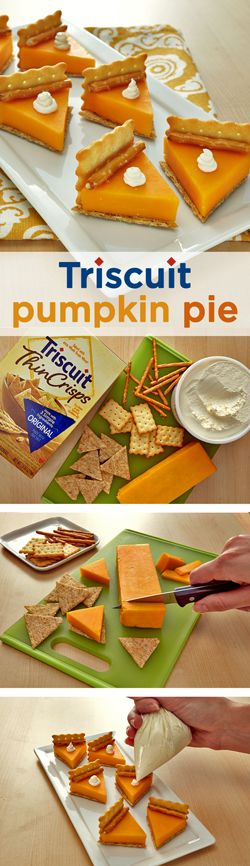 """Party guests will delight in these easy, pumpkin pie appetizers! Start by cutting cheese into triangle-shaped wedges to fit your Triscuit Thin Crisps, then use the cream cheese as the """"glue"""" to assemble the Triscuit Thin Crisps, Chicken in a Biskit crackers, and pretzel sticks into pieces of pie. Dab on a little cream cheese for the """"whipped cream"""" on top of each slice for the perfect finishing touch to your savory snack! Original recipe via SheKnows.com"""