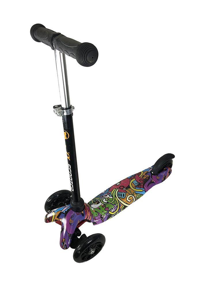 Amazon.com : Kool KiDz Adjustable Light Up Kids Push Kick Scooter for Girls Boys Hip Hop Grafitti (Graffiti 2) : Sports & Outdoors