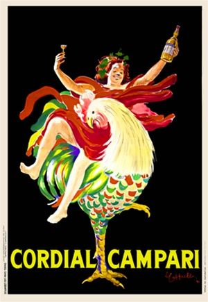 Cordial Campari by Cappiello 1921 Italy - Beautiful Vintage Poster Reproductions. This vertical italian wine and spirits poster features a woman riding on a rooster holding up a glass in one hand and bottle in the other. Giclee advertising print. Classic