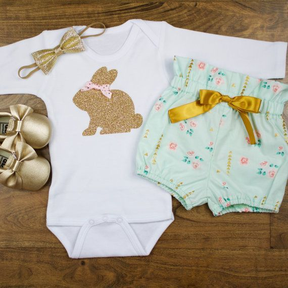 baby girl Easter outfit | Gold Bunny | Baby Easter Bunny Outfit | Mint Floral High Wasted Bloomers With Gold Easter Bunny Complete Set by OliveLovesApple