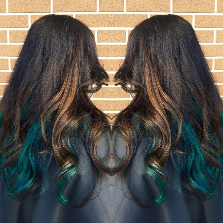 Teal hair  Teal peekaboo  Pravana  Green  Blue  Balayage  Caramel