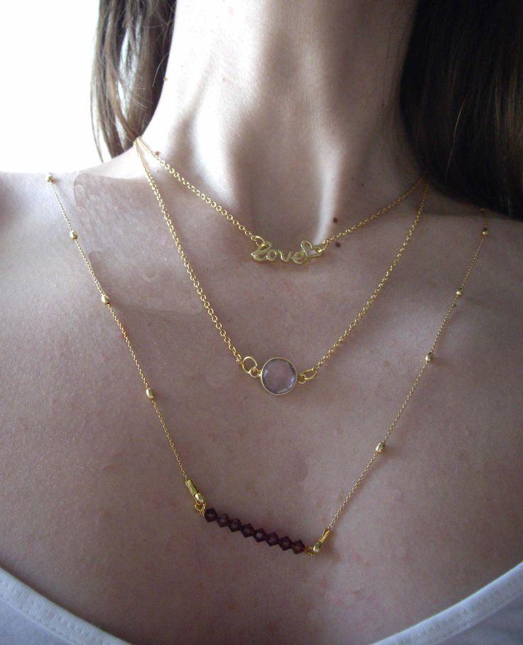 Ασημένια 925ο επιχρυσωμένα κολιέ.   Necklaces with silver 925ο gold plated chain.