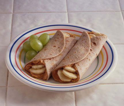 Peanut Butter Delight! 1/2 banana or apple + one 8-inch whole-grain wrap spread with 2 tbsp peanut or almond butter - PERFECT FOR WORK!
