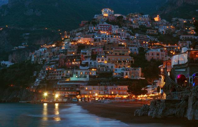 Positano Italy at night