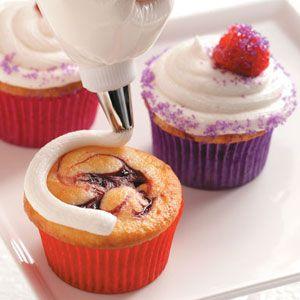 Raspberry Swirl Cupcakes Recipe | Taste of Home Recipes