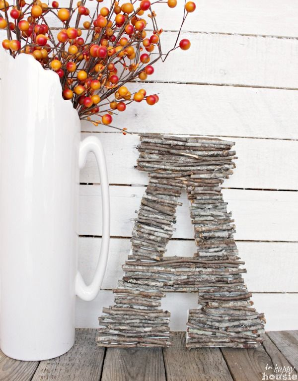 Easy DIY Craft with found objects - learn how to make your own Twig Letters or a Twig Monogram tutorial at The Happy Housie #twigcrafts #naturecrafts #falldecor: Easy DIY Craft with found objects - learn how to make your own Twig Letters or a Twig Monogram tutorial at The Happy Housie #twigcrafts #naturecrafts #falldecor