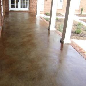 stained concrete for fire-pit patio