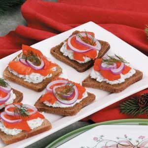 """Smoked Salmon Canapes Recipe -""""My boyfriend's mother gave me the idea for this classy appetizer that I serve for Sunday brunch and special occasions like New Year's Eve,"""" says Tristin Crenshaw, Tucson, Arizona. """"The textures are flavors of the dill, cream cheese and smoked salmon are scrumptious together."""" Spread on cocktail rye bread, it's sure to be the toast of your buffet!"""""""