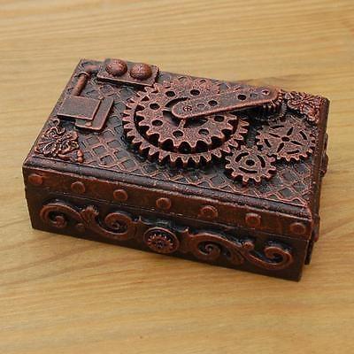Steampunk de caja de madera joyería Chucherias único hecho a mano COGS Engranajes