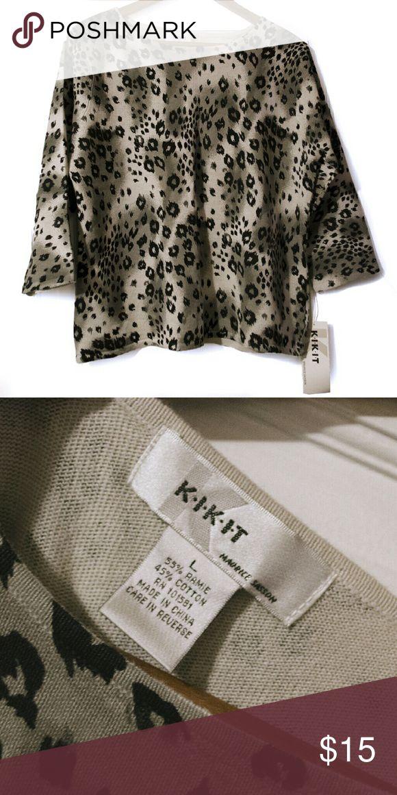 Cheetah print shirt Kik it, Maurice Sasson cheetah shirt, 3/4 sleeve Tags still attached, never worn 55% ramie, 45% cotton Maurice Sasson  Tops