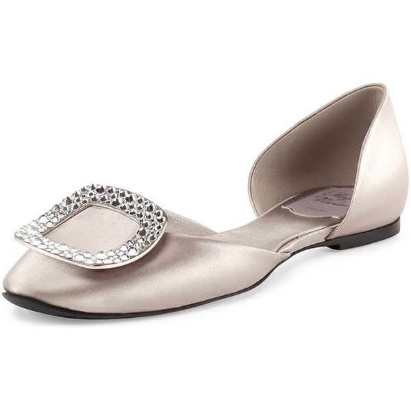 Roger Vivier Ballerine Chips d'Orsay Flat ($1,020) ❤ liked on Polyvore featuring shoes, flats, gray pearl, roger vivier flats, grey flats, ballerina shoes, slip on shoes and dorsay flats