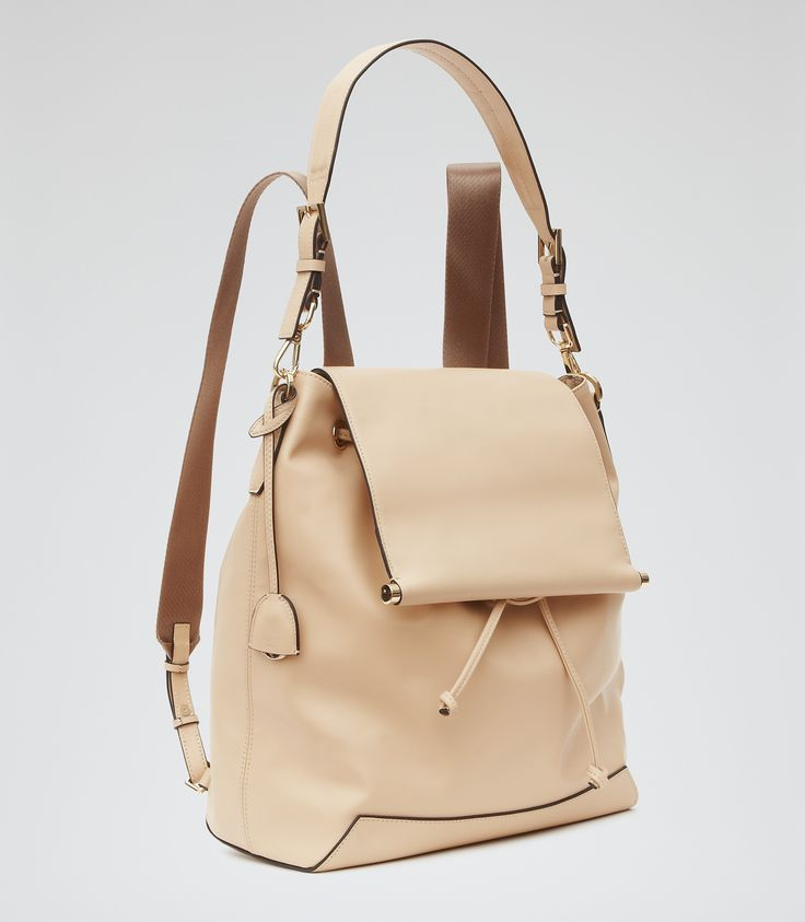 Womens Nude Leather Backpack - Reiss Luca
