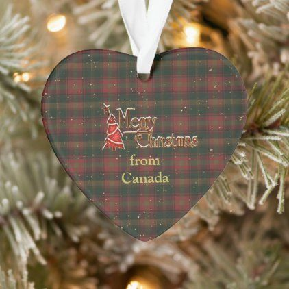 Merry Christmas From Canada Tartan Ornament Zazzle Com In 2020 Custom Holiday Card Father Christmas Gifts Employees Christmas