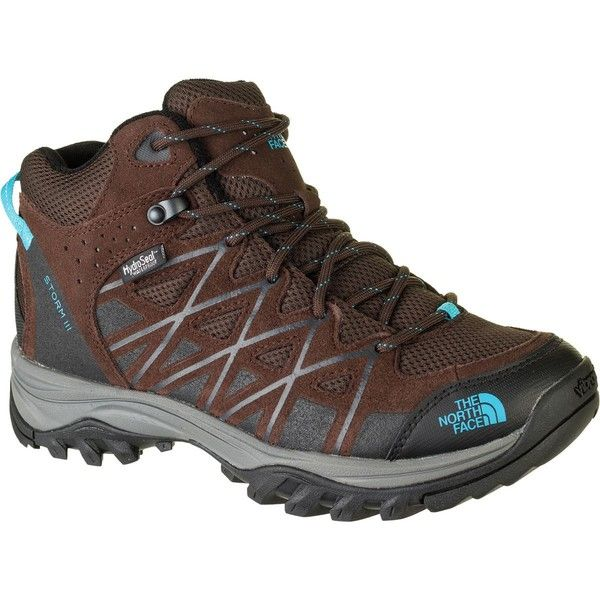 The North Face Storm III Mid Waterproof Hiking Boot ($110) ❤ liked on Polyvore featuring shoes, structure shoes, waterproof shoes, waterproof footwear, cushioned shoes and ankle support hiking boots