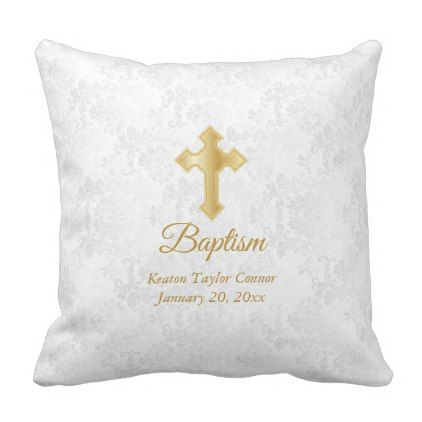 White Damask and Gold Baptism Throw Pillow - baby gifts child new born gift idea diy cyo special unique design